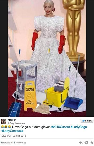 Los 8 Memes más 'cool' sobre los guantes que llevó Lady Gaga a los premios Óscar