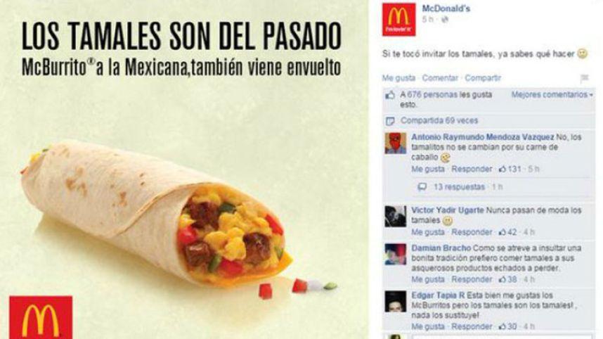 Restaurante de comida rápida es criticado por atacar a los tamales