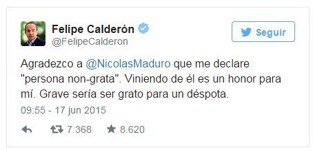"""Calderón responde a Maduro: """"Grave sería ser grato para un déspota"""""""