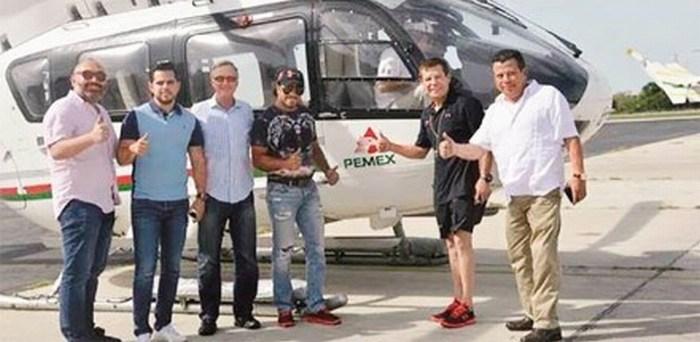 Usan helicóptero de Pemex para pasear a JC Chávez… y patrulla para foto de modelos