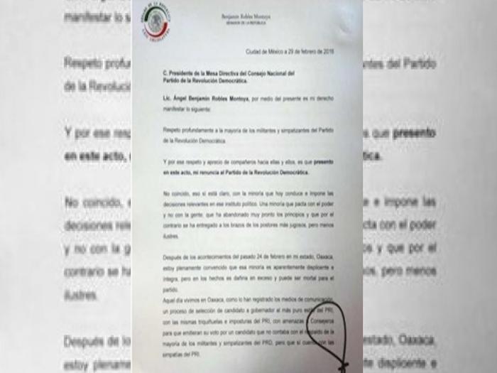 Presenta Benjamín Robles su renuncia al PRD