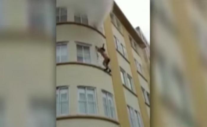 Mujer se lanza del tercer piso de un edificio en llamas y vive para contarlo.