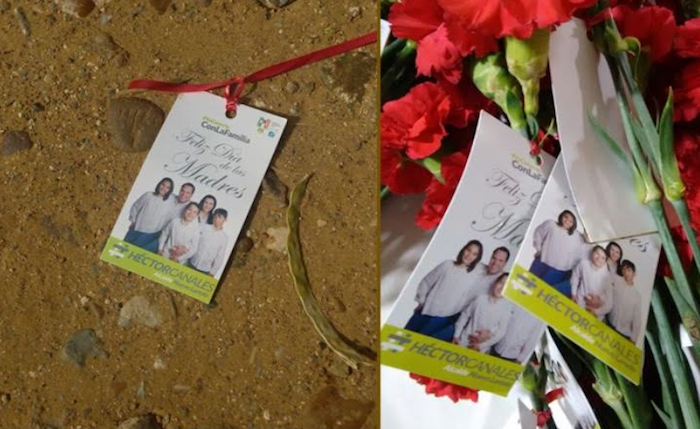 En Tamaulipas Madres regresan y tiran flores que regalaba el PRI