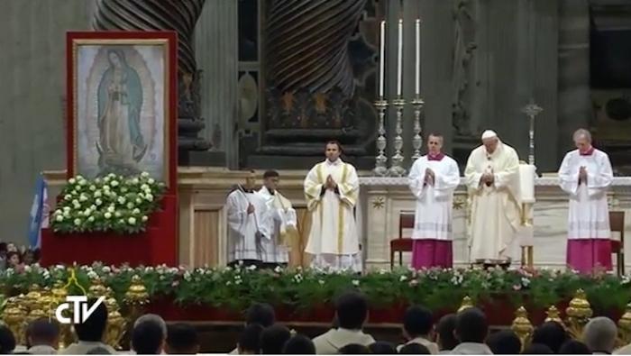Celebra papa Francisco misa en honor a la Virgen de Guadalupe