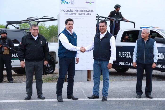 PONEN EN MARCHA GOBERNADORES DE TAMAULIPAS Y NUEVO LEÓN POLICÍA INTERESTATAL