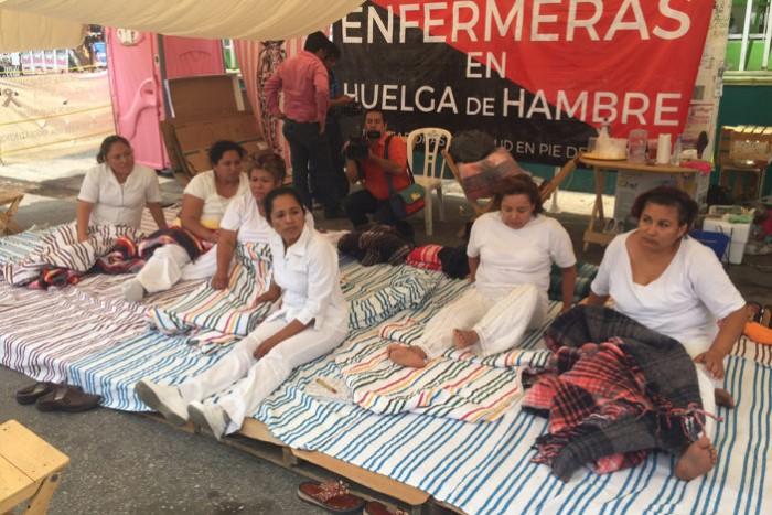 Enfermeras de Chiapas llevan 18 días de huelga de hambre