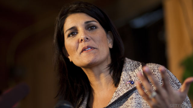 LEXINGTON, SC - NOVEMBER 3: South Carolina Governor-elect Nikki Haley speaks to voters at Hudson's Smokehouse on November 3, 2010 in Lexington, South Carolina.The election of Haley makes her the first Indian-American governor of South Carolina when she beat incumbent Democrat Vincent Sheheen.  (Photo by Chris Keane/Getty Images)