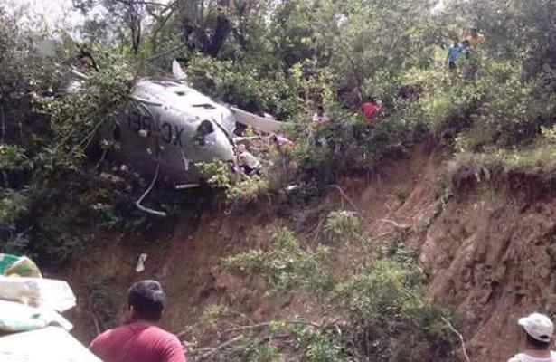 Cae helicóptero con ayuda  para damnificados en Oaxaca