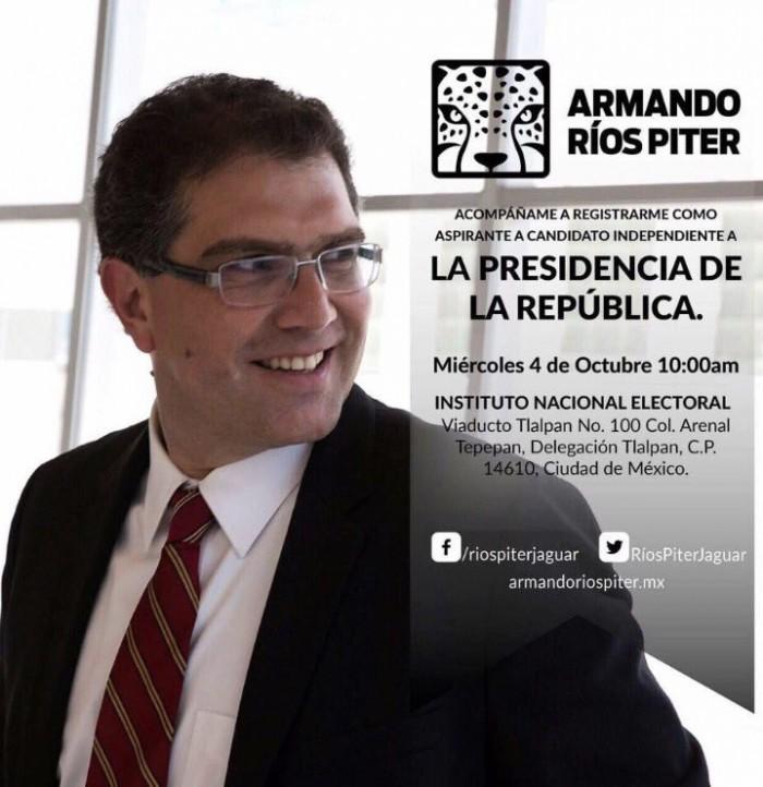 Se registra Senador Armando Rios Piter como aspirante a candidato Independiente