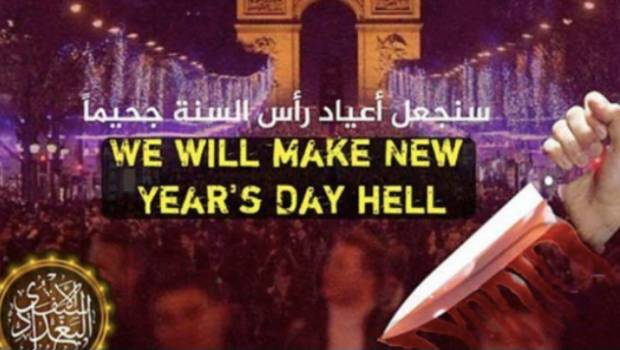 """Amaga EI con hacer de París """"un infierno en Año Nuevo"""""""
