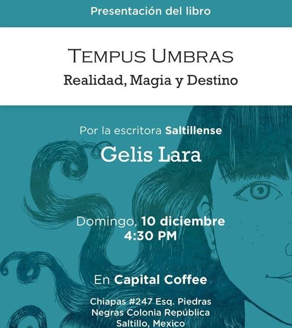 Hoy  presentación del libro TEMPUS UMBRAS Por Gelis Lara