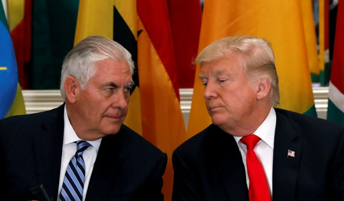 FILE PHOTO: U.S. President Donald Trump and Secretary of State Rex Tillerson confer during a working lunch with African leaders during the U.N. General Assembly in New York, U.S. on September 20, 2017. REUTERS/Kevin Lamarque/File Photo - RC1B0AD3A990