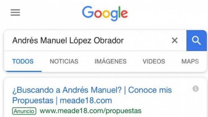 Si googleas 'Andrés Manuel López Obrador'... Meade te muestra sus propuestas
