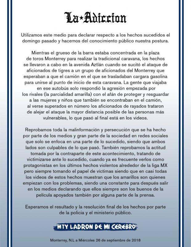 """Barra de Rayados sobre actos violentos: """"Sólo respondimos a la agresión"""""""