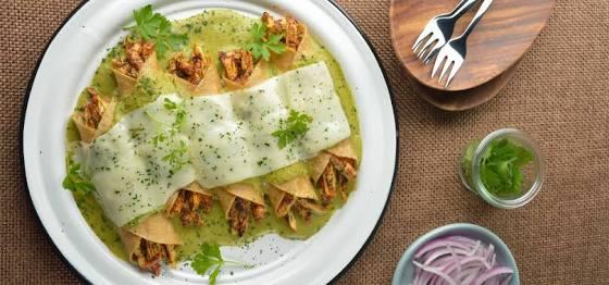 Receta de Enchiladas Suizas.