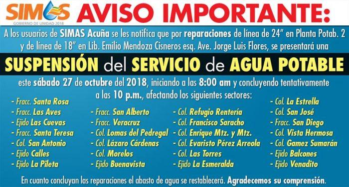 Aviso de#Suspensióndel Servicio deAguaPotableelSábado27, de 8:00 am a 10:00 pm enAcuñaCoahuila.