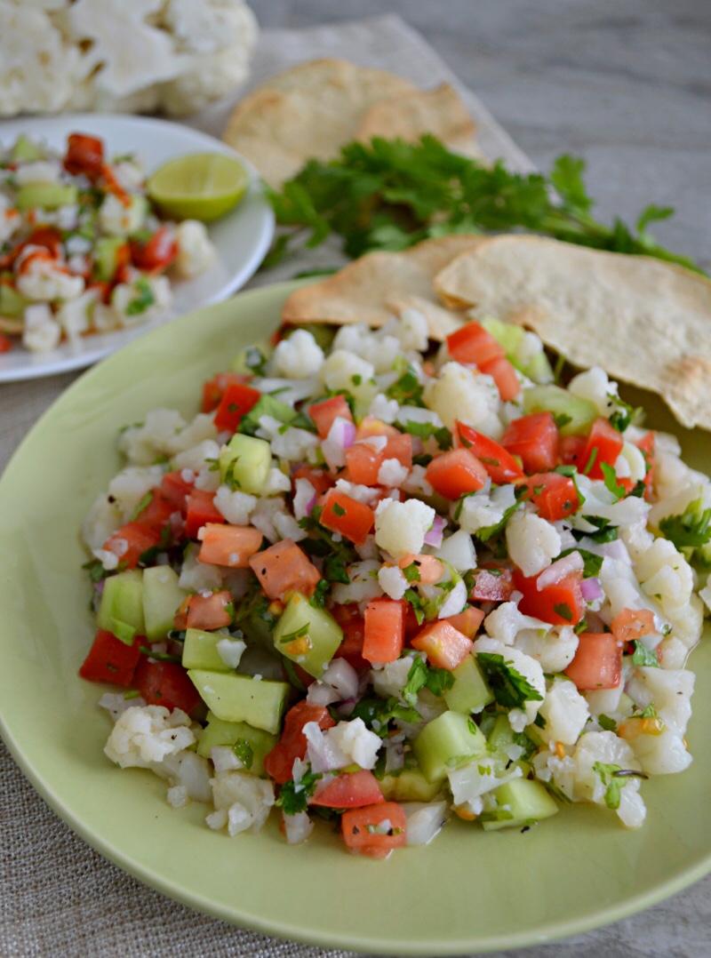 Ceviche de Coliflor vegetariano y saludable.