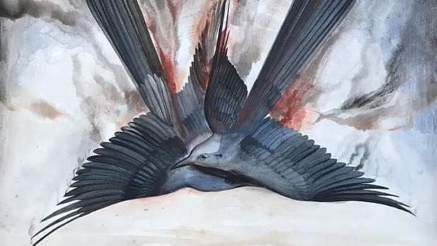 """""""La caída de los dos aves azules"""": Exponen pintura en memoria de Moreno Valle y Alonso"""
