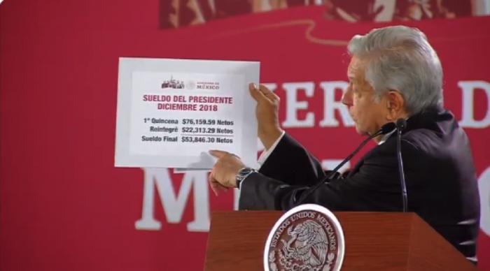 López Obrador devuelve 22 mil pesos de su salario
