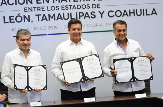 COAHUILA FIRMA CONVENIO DE SEGURIDAD CON NL Y TAMAULIPAS