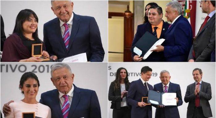 Reciben el Premio Nacional de Deporte 2019; Alexa Moreno, Paola Espinosa,Diego López, César Fernando y Alfonso Victoria.