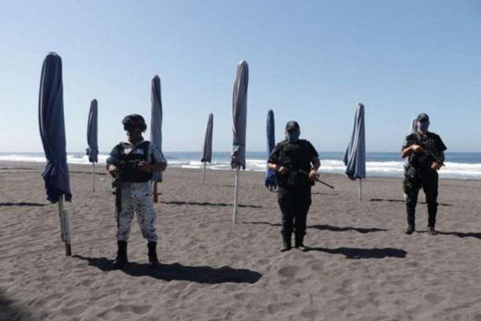 Guardia Nacional y Policía Estatal bloquean acceso a playas en Colima