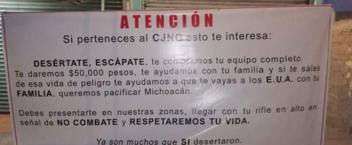 CON NARCOMANTAS, INVITAN A SICARIOS DEL CJNG A DESERTAR A CAMBIO DE 50 MIL PESOS EN MICHOACÁN