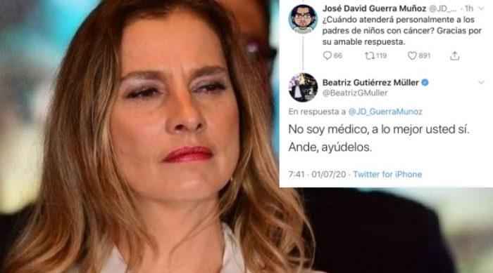 """""""No soy médico"""", contesta Beatriz a tuitero sobre niños con cáncer"""