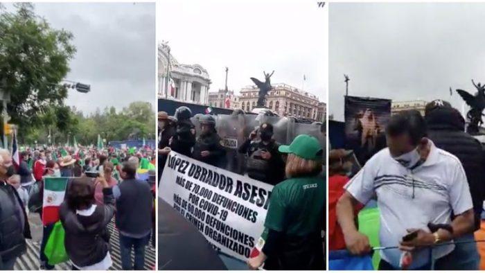Integrantes de FRENAAA se manifestaron contra López Obrador en CDMX