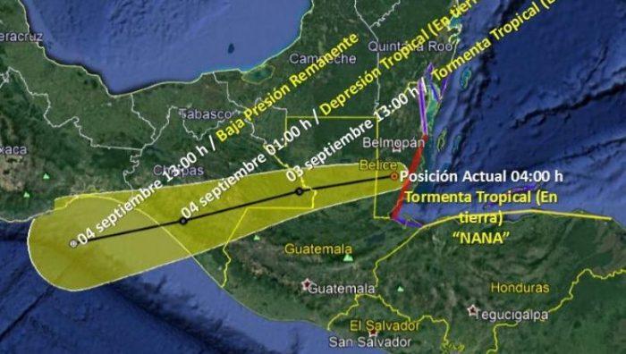 Tras tocar tierra en Belice, 'Nana' cruzará Chiapas de este a oeste
