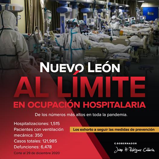 Nuevo León está al límite de ocupación hospitalaria