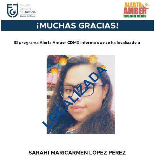 Encuentran con vida a Sarahí Maricarmen López Pérez, desaparecida en 2018