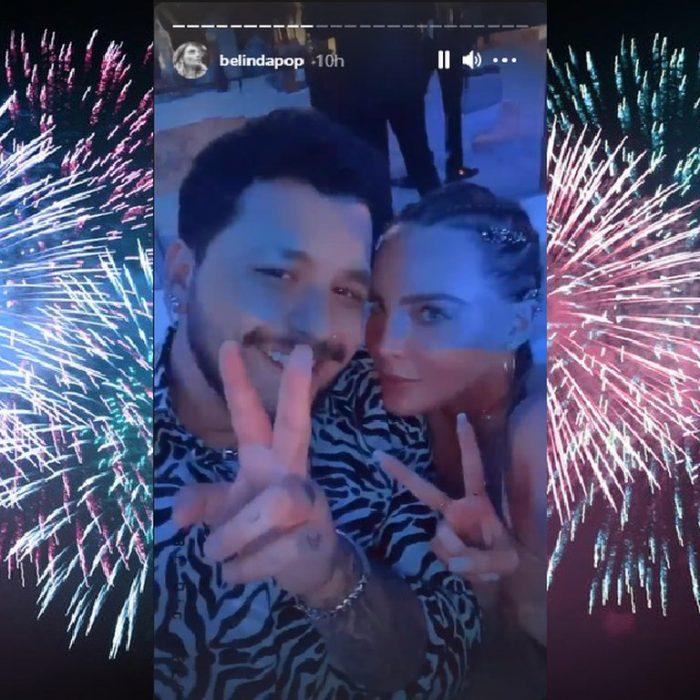 Con un espectáculo de fuego, una lujosa fiesta y algunos miembros de su familia: Belinda y Christian Nodal celebraron la llegada del 2021