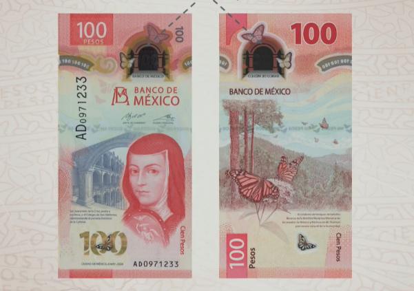 Sor Juana Inés de la Cruz en el nuevo billete de 100 pesos