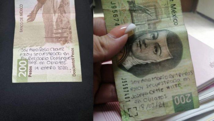 Cajero da billetes con mensajes de secuestro en Guadalajara