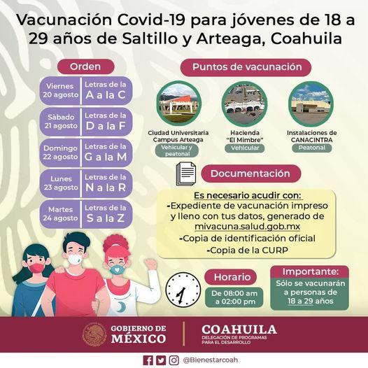 Inicia mañana vacunación anticovid para jóvenes de 18 a 29 años.
